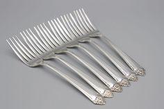 Plated Flatware Starlight Pattern 6 Dinner Forks Rogers Bros 1950 | eBay