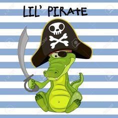 Симпатичные карикатуры Крокодил в пиратском шляпе Клипарты, векторы, и Набор Иллюстраций Без Оплаты Отчислений. Image 38998988.