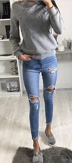 #fall #outfits Grey Knit + Ripped Skinny Jeans