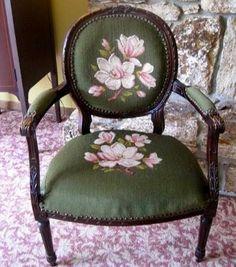 cabriolet parlor chair makeover, painted furniture, reupholstoring, reupholster