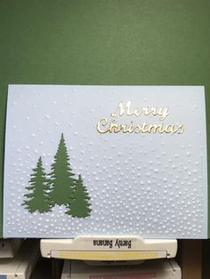 Todays CAS is the milestone! KelliJo asked that we use gold or silver, I chose gold. This was easy-peasy. I dry embossed white vellum using SU gently falling ef. Die cut three trees (unknown) Ive had for ages - now I write the C Die Cut Christmas Cards, Christmas Card Sayings, Simple Christmas Cards, Printable Christmas Cards, Homemade Christmas Cards, Funny Christmas Cards, Xmas Cards, Handmade Christmas, Homemade Cards