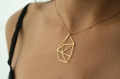 geometric necklace geometric jewelry faceted by WildThingStudio
