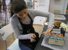 Grouting her mosaic box