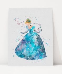 Cinderella Watercolor Illustration Wall Art Art by 0ThePrintShop0