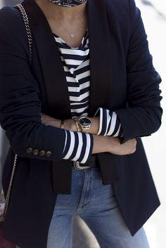 Blazer   jacket   striped knit top   blue jeans   gold bracelets & watch   style.