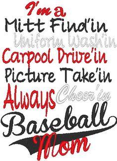 Baseball mom Machine embroidery design. $2.25, via Etsy.