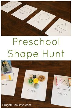 Preschool Shape Hunt - A super simple shape activity for preschoolers that requires only a minute to set up (summer fun for kids learning) Preschool At Home, Preschool Lessons, Preschool Classroom, Classroom Activities, Preschool Crafts, Preschool Shapes, Preschool Scavenger Hunt, Scavenger Hunts, Circle Time Activities Preschool