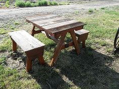 child s pallet and recycled cedar fencing picnic table, diy, outdoor furniture, outdoor living, painted furniture, pallet, woodworking projects,