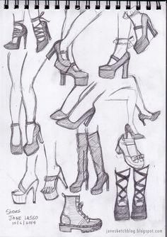 Dibujos de zapatos a lápiz