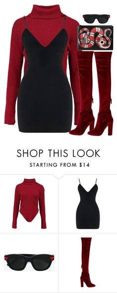 """$nakes"" by slaynia ❤ liked on Polyvore featuring Boohoo, Yves Saint Laurent, Aquazzura and Gucci"