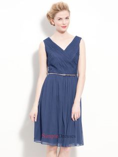 V-neck With Strap Bodice Belted Ruched Chiffon Dress