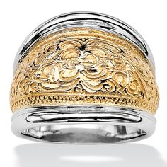 14k Yellow Gold-Plated Sterling Silver Two-Tone Scroll Motif Cigar Band Ring