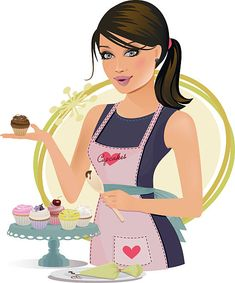 This girl's speciality is creating delicious cupcakes. Logo Chef, Logo Anime, Chef Images, Bakery Business Cards, Cake Logo Design, Makeup Artist Logo, Cupcake Images, Bakery Logo, Decoupage Vintage
