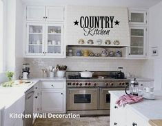 New Kitchen Wall Decoration Classic White Kitchen, All White Kitchen, White Kitchen Cabinets, Country Kitchen, New Kitchen, Kitchen Vinyl, Glass Cabinets, Funny Kitchen, Upper Cabinets