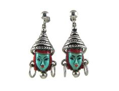 Selro earrings, turquoise with hats in silver tone