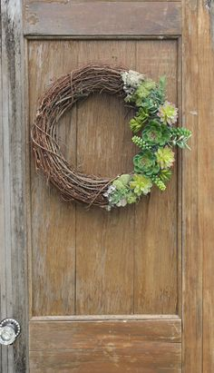 Succulent Wreath Spring Wreath Summer Wreath by HeartOfHomeDesign