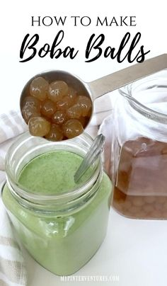 How to make Boba Balls from scratch with link to Matcha Boba Balls video.  #boba #bobaballs #tapioca #tapicoaballs Boba Balls Recipe, Tapioca Balls Recipe, Boba Tea Recipe, Tea Recipes, Kitchen Recipes, Cooking Recipes, Recipies, How To Make Boba, Boba Pearls