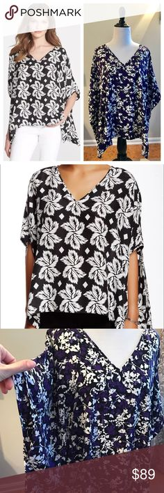 NWT Diane Von Furstenberg Adria Silk Tunic Top Brand new with tags Diane Von Furstenberg Adria Top. Oversized Tunic fit. Purple and black Floral vine print (Black and white top is shown for fit only). Silk blend. Size Large 💕 Diane von Furstenberg Tops Tunics
