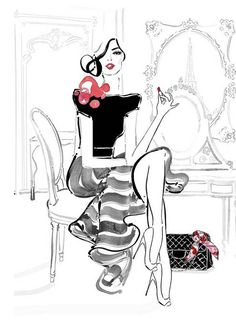 "A lovely Kerrie Hess illustration. She is author and illustrator of style book ""Shoestring Chic"" as well as a range of limited edition fashion prints. Kerrie has lived in London, Hong Kong and Paris. Megan Hess Illustration, Illustration Sketches, Arte Fashion, Fashion Design, Style Fashion, Kerrie Hess, Modelos Fashion, Girly, Fashion Sketches"