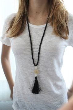Black Long Necklace with tassel. Black and white necklace. Gold lace necklace