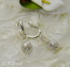 Pure Silver Knotted Tiny Ball Earrings Kazaz by NMBeadsJewelry