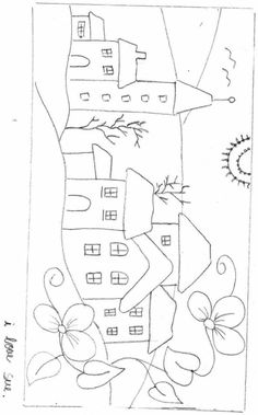 Drawing Wool Applique Patterns, Applique Quilts, Embroidery Applique, Embroidery Patterns, Applique Designs, House Quilt Block, House Quilts, Embroidery Stitches Tutorial, Paper Dolls Printable