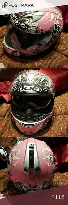 HJC IS-16 Arkanium pink motorcycle helmet HJC is - 16 pink black white and gray motorcycle helmet with retractable sun visor. This thing is like brand new I used it maybe twice if that. Please see last photo for full product description from online. Super nice helmet!!! HJC Accessories