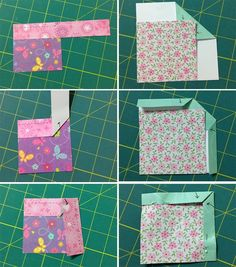 SO many ways!: finishing binding on quilts Bewildered about binding? Here's a clever way to remember all those peculiar folds: paper binding that you can cut, fold, and keep as a handy example! Quilting For Beginners, Quilting Tips, Quilting Tutorials, Quilting Projects, Sewing Tutorials, Sewing Projects, Beginner Quilting, Hand Quilting Designs, Art Quilting