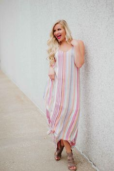 Penelope V Neck Striped Maxi Dress ~ Multi colors Short Beach Dresses, Sexy Dresses, Summer Dresses, Striped Maxi Dresses, Floral Maxi Dress, Summertime Outfits, Backless Mini Dress, Fashion Outfits, Fashion Trends