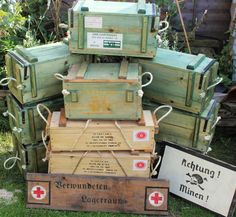 Selection of WW2 British ammo boxes (Vickers .303, Hawkins mines & grenade boxes).
