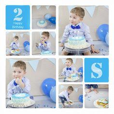 photo cake smash baby happy birthday anniversaire 1 an 2 ans boy garcon bleu beige petits pois noeud pap gateau bleu bordeaux gironde by modaliza photographe