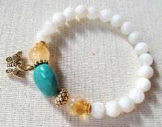 Pulsera mariposa oro fertilidad, Moonstone, citrino, turquesa, piedras preciosas. Julie Chen inspirado joyas