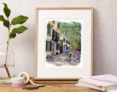 #Charleston #SouthCarolina #Southern #Charm #SouthernCharm #Shop #Shopping #stroll #walk #couple #romantic #liveoak #liveoaktrees #cobblestone #architecture #art #artprint #giclee Charleston, SC