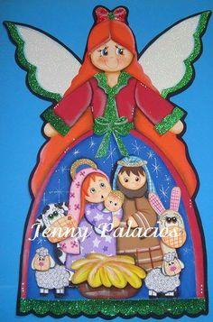 Pesebres tomados de la web :: RT Decoraciones y algo más... Christmas Wood, Simple Christmas, Christmas Time, Christmas Crafts, Xmas, Easy Christmas Drawings, Nursing Home Gifts, Holy Night, Deco Mesh