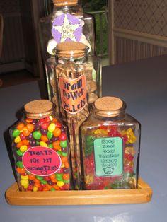magic energy drops, brain power pellets, treats for my sweeties, power writing balls