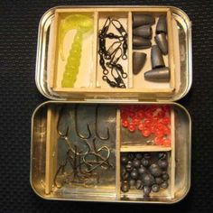 Altoid fishing tackle box.