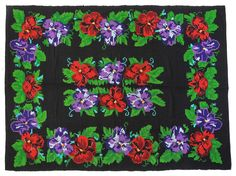 Romanian rug, cover for bed or wall on black background with purple and red flowers. Vintage Cushions, Vintage Rugs, Rugs On Carpet, Carpets, Decorative Pillow Covers, Handmade Decorations, Rug Making, Handmade Rugs, Red Flowers