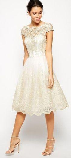Short Wedding Dresses : Asos Chi Chi London Premium Metallic Lace Midi Prom Dress with Bardot Neck Wedding Robe, Wedding Gowns, Hair Wedding, Tulle Wedding, Spring Wedding, Bridesmaid Dresses, Prom Dresses, Formal Dresses, Dress Prom