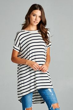 Striped high/low tunic top featuring crisscrossed back detail.