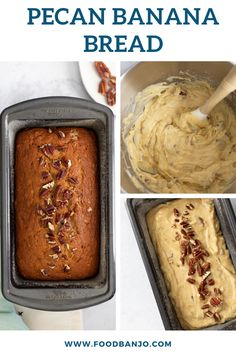 This easy pecan banana bread is so easy to whip up using leftover ripe bannas. The recipe is delicious and perfect for a dessert or sweet breakfast. Add chocolate chips if you want for an added treat! #bananabread #pecanrecipes #bananas Pecan Recipes, Waffle Recipes, Banana Bread Recipes, Sweets Recipes, Kinds Of Desserts, Desserts To Make, Delicious Desserts, Best Breakfast Recipes, Sweet Breakfast
