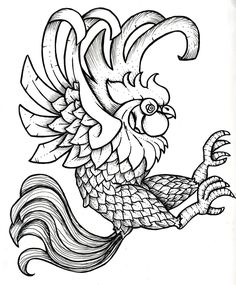 Rooster Printable Black and White | Black Rooster by ~Cubos on deviantART