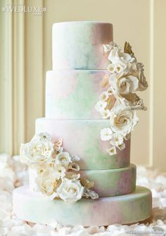 WedLuxe: butterfly-inspired #wedding shoot with #dreamy pastel cakes and sweets by Kien & Sweet