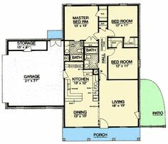 This ranch design floor plan is 1288 sq ft and has 3 bedrooms and has 2 bathrooms. Starter Home Plans, 2 Bed House, Building Section, Site Plans, Ranch Style Homes, First Time Home Buyers, Best House Plans, Floor Plans, House Design