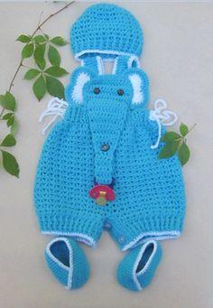 Crochet Baby Infant Romper Elephant Set, Turquoise Crochet Overall, Elephant Coverall Elephant Romper Newborn photo prop Crochet Baby Outfit Crochet For Boys, Free Crochet, Baby Patterns, Crochet Patterns, Handgemachtes Baby, Pinterest Crochet, Baby Pullover, Crochet Baby Clothes, Crochet Romper