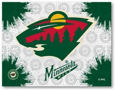 Make a big splash by putting your team alliance a focal point in the room with the Minnesota Wild Canvas Wall Art. The printed canvas features splashes of the primary team color overlaying a repeat background. The primary team logo sits center o. Wild Hockey, Minnesota Wild, Print Logo, Print Pictures, Wall Prints, Nhl, Canvas Wall Art, Cool Art, Graphic Art