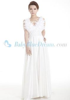 A-Line Straps White Like silk satin Prom Dress/SUN011 Elegant A-Line Straps White Like silk satin with feather bodice Prom Dress_Discount Prom Dress babybluedream.com [SUN011] - $169.00 : Designer Wedding Dresses, Graduation Dresses and Prom Dresses at Babybluedream.com