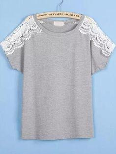 #AdoreWe #MakeMeChic MAKEMECHIC Grey Lace Short Sleeve Loose T-Shirt - AdoreWe.com