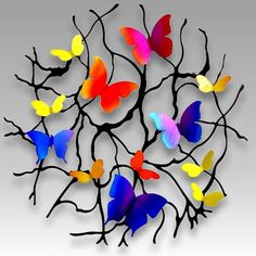 Flight of Butterflies Metal Wall Art