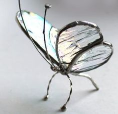 Stained Glass Sitting Butterfly - Clear Iridescence - TabletopWindow | L-A-Glass - Glass on ArtFire