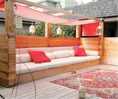 "Outdoor seating can play a big role in house much you use your outdoor spaces. This is rather a rather inviting option. Tropical outdoor space: From House Home"" data-componentType=""MODAL_PIN Outdoor Seating, Outdoor Rooms, Outdoor Living, Outdoor Decor, Deck Seating, Outdoor Couch, Garden Seating, Outdoor Pallet, Pallet Seating"